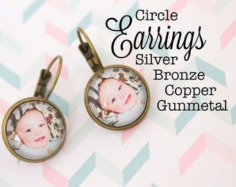 Custom Photo Earrings Circle 16 mm Earrings Personalized Gift Silver, Gunmetal, Antique Bronze and Antique Copper