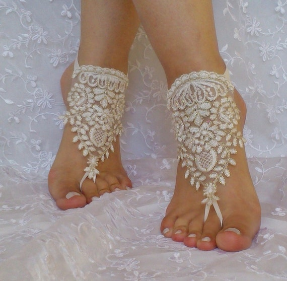 Free  ship ivory gold cord  wedding barefoot sandles anklet prom party barefeet bangle beach anklets bangles bridal bride bridesmaid
