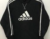 Vintage 90's Adidas Black White Big Logo Sport Trainer Sweatshirt Size S Adult Sweater Hip Hop Streetwear #S122