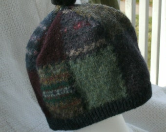 Multi-colored Recycled Felted Wool Hat