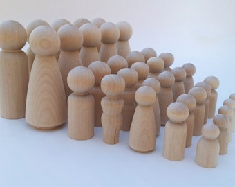 35 Wooden Peg Dolls / 5 sets of Family of 7 / Peg People / Waldorf / Unfinished Maple Ready to Paint
