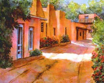 Gicle'e print and note cards of Santa Fe scene of adobe dwellings off Canyon Road