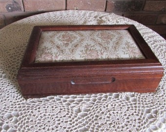 Vintage Wood Padded Cloth Jewelry Box.