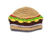 Knit Food Hat, Cheeseburger Hat, Burger Beanie, Mens Beanie, Adult Novelty Hat, Burger Crochet Hat, Toddler Hat, Boys Crochet Beanie, Silly