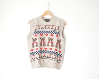 SALE // vintage teddy bear wool knit top sweater vest 70s 80s // M