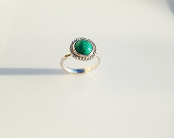 Sterling Silver Genuine Turquoise Ring, Cabochon stone