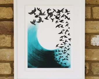 Screen print art - hand printed - limited edition bird print - birds in flight - turquoise and black wall art - bird artwork