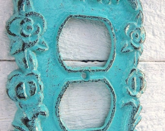 Cast Iron Socket Plate Cover Turquoise Wall Fixture Metal Home Decor