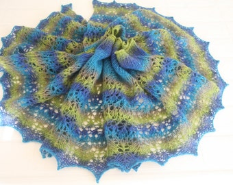 100% Wool Hand Knitted Shawl. Blue and Green Shawl. Ready to Ship.