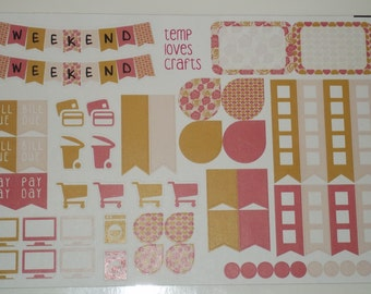 Rose and Gold Weekend Sampler for Erin Condren Life Planner or Any Planner