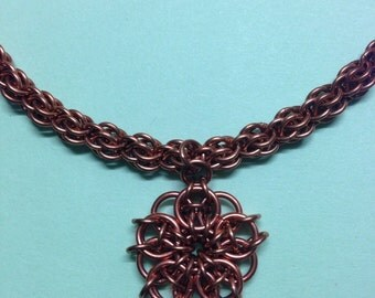 Copper chainmaille necklace with pendant and earrings