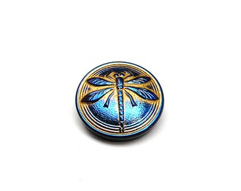 Czech Hand Made Art Glass Cabochon with Dragonfly (BUT15030/8) Jet Blue Bronze Coloured, size 8, 18mm, 1pc