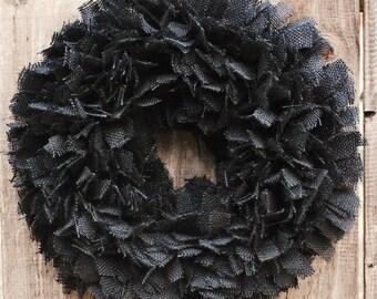 Burlap Halloween Wreath, Black Burlap Wreath, Rustic Halloween Wreath, Farmhouse Halloween Decor, Primitive Halloween Wreath, Fall Wreath