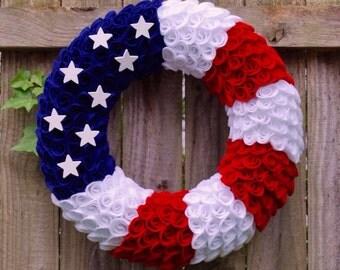 4th of July Wreath, Patriotic Wreath, Flag Wreath, Fourth of July Wreath, Memorial Day Wreath, Felt Wreath