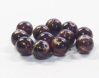 Round Acrylic Beads in Dark Wine with Gold Splattering (12) 10 MM