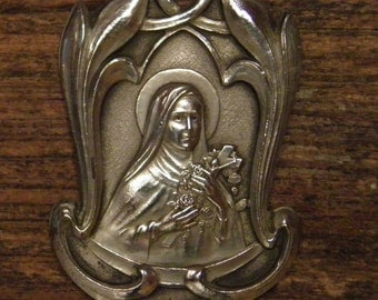 antique silvered Art Nouveau Saint Therese of Lisieux