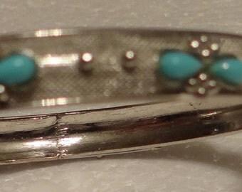Turquoise Glass Silvertone Bracelet
