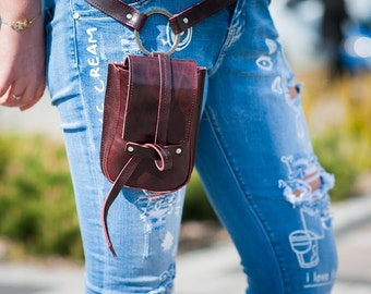 Burgund leather mini bag