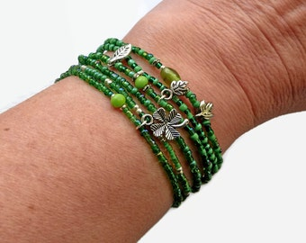 6 seed bead bracelets, green, clover, stretch bracelet, boho chic, beaded bracelet