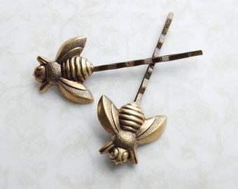 Bee Bobby Pins Antiqued Gold Brass Hair Clip Woodland Wedding Hair Pin Boho Rustic Bridal Hair - Sweet As Honey