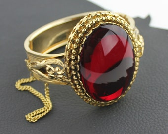 Large Red Jewel & Gold Hinge Bracelet with Security Chain