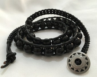 Wrap Bracelet 3 layer Black Glass Pearls DISCOUNTED PRICE
