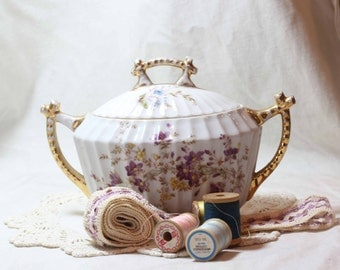Vintage Sewing and Porcelain Still Life Photography, Thread and Lace, Purple Violets, Shabby Chic Still LIfe Photo