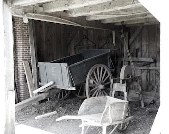 Old Barn Photo, Antique Barn, Wagon Wheels, Black and White Barn