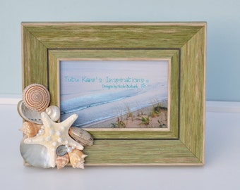 Seashell Beach Decor Rustic Frame- 4x6 Frame