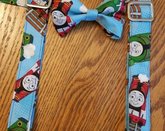 Thomas the train bow tie and suspenders