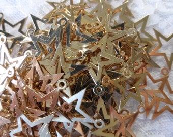"Bright gold plate brass stars,3/4"",50pcs-CHM205"
