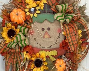 Fall Harvest Scarecrow Mesh Burlap Wreath