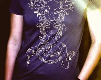 Born Again Carnivore, Women's Screen Printed T-shirt, Original Art by Janice Savonen