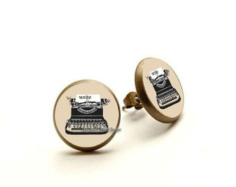 Write earrings, Typewriter, Readers, Writers, Librarians, Book Lover Gift, Hypoallergenic Earrings for Sensitive Ears