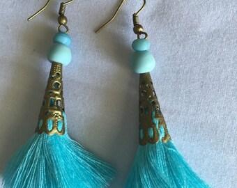 Aqua & Brass Stunning dangle Tassel earrings> must have>fashion>item >festival > fun>summer> winter>trends