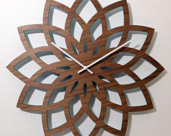 "18"" LOTUS WALL CLOCK Modern Laser Cut Walnut Wood"