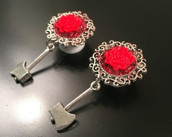 """Red Rose Axe Plugs - 1/2"""" (12mm)"""