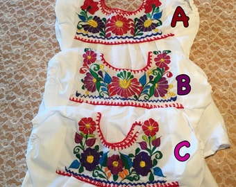 Traditional Hand Embroidered Mexican Girls Top Size 12-18 months