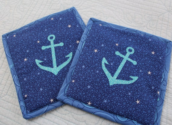 Nautical Anchor Pot Holders Hot Pads