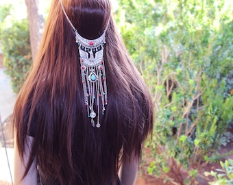 Boho Hair Piece, Gypsy Hair, Chain Hair Piece, Bohemian Jewelry, Silver Hair, Eagle, Tribal Jewelry, Faux Turquoise