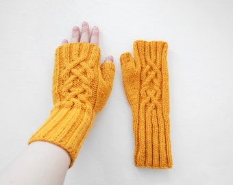 Yellow Mittens (fingerless gloves, arm warmers)