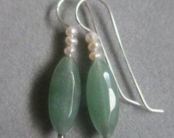 Sterling Silver Beaded Aventurine Quartz & Pearl Earrings #ER114SSQ