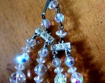 Necklace Aurora Borealis Glass Crystal Beads Double Strand Vintage