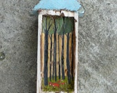 Foxes / Rustic Shrine / Hand Painted Shrine / Old Wood Original Acrylic Painting Art