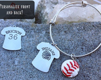 Sport Bezel Mom Grandma Bracelet made from real baseballs, basketballs, soccer balls, softballs, and footballs
