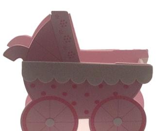 "Jumbo Pink Baby Shower birthday Stroller buggy Cart EVA Foam Centerpiece 12"""