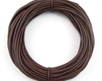 Brown Natural Dye Round Leather Cord 2mm 25 meters (27 yards) Lead Free