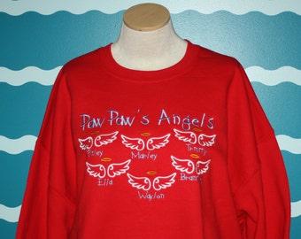 Grandparent embroidered sweatshirt - Custom embroidery crew neck sweatshirt - Little angels embroidered sweatshirt - granddad sweatshirt