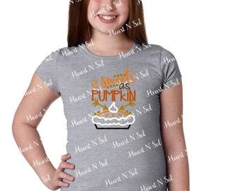 Pumpkin, Halloween, Thanksgiving, Fall, Sweet as Pumpkin Pie, Embroidered Girls Shirt