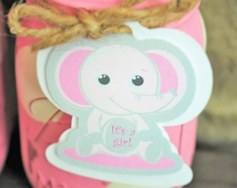Elephant Baby Shower Tags, It's a Girl Elephant Shower Favor Tags, Girl Baby Shower Mason JarTags, Pink and Gray - 009